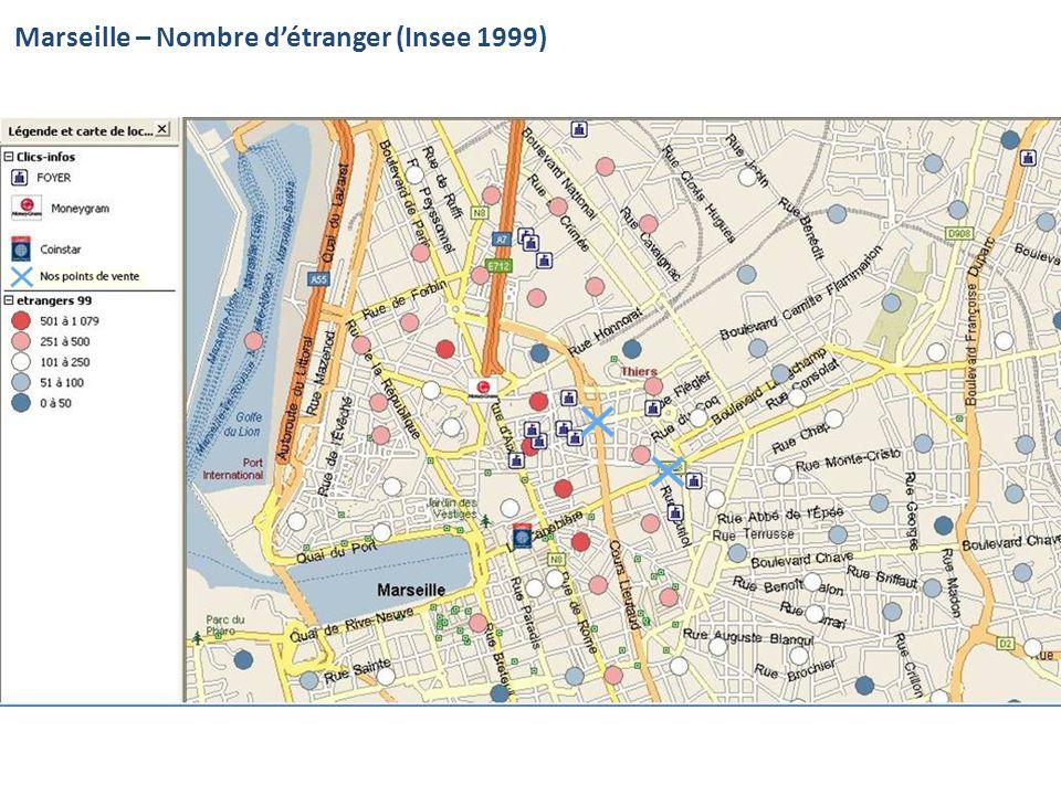 Marseille – Nombre détranger (Insee 1999)