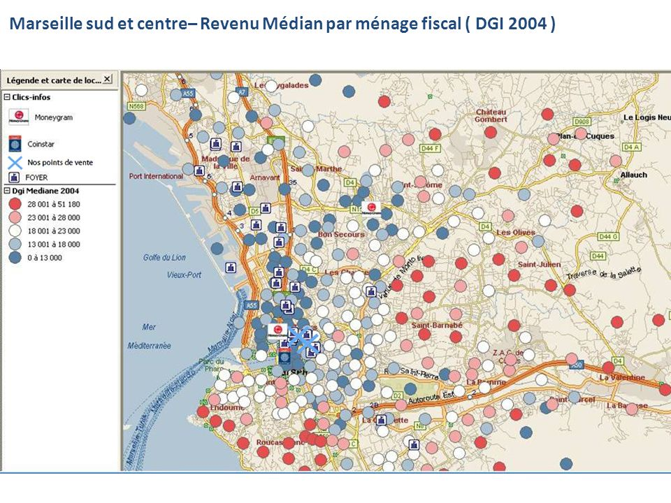 Marseille sud et centre– Revenu Médian par ménage fiscal ( DGI 2004 )