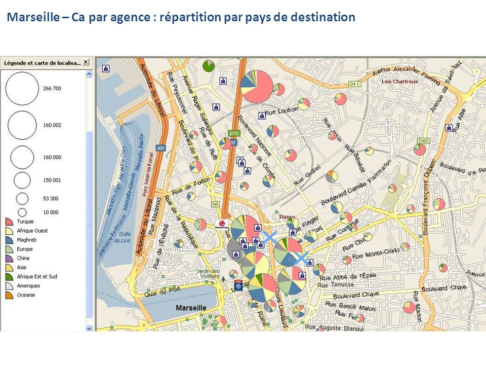 Marseille – Ca par agence : répartition par pays de destination