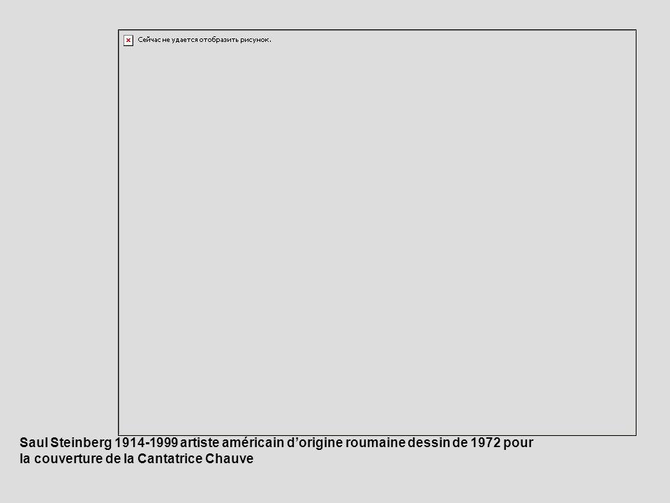 Saul Steinberg 1914-1999 artiste américain dorigine roumaine dessin de 1972 pour la couverture de la Cantatrice Chauve