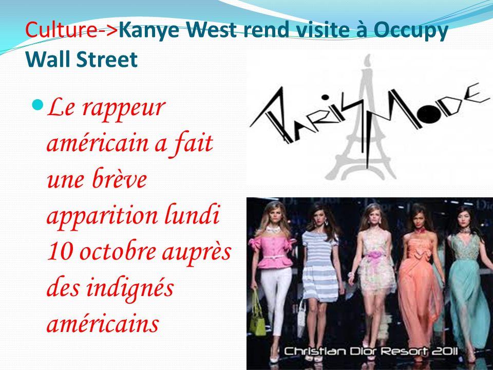 Culture->Kanye West rend visite à Occupy Wall Street Le rappeur américain a fait une brève apparition lundi 10 octobre auprès des indignés américains