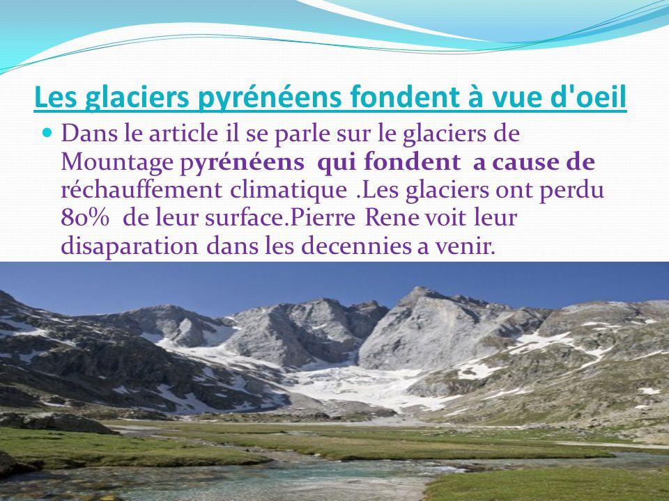 Les glaciers pyrénéens fondent à vue d oeil Dans le article il se parle sur le glaciers de Mountage pyrénéens qui fondent a cause de réchauffement climatique.Les glaciers ont perdu 80% de leur surface.Pierre Rene voit leur disaparation dans les decennies a venir.