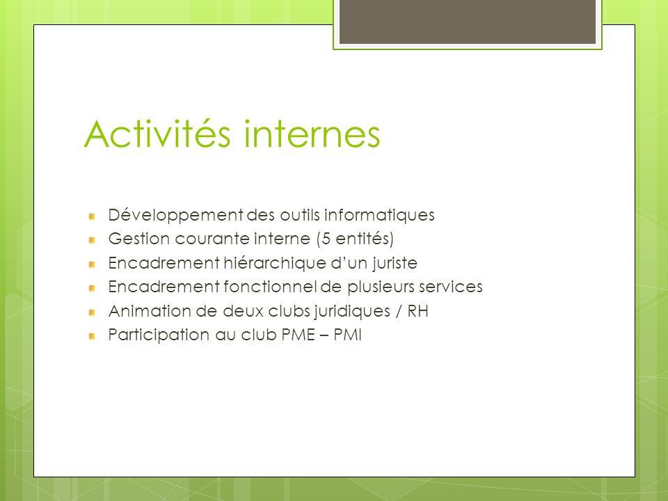 Activités internes Développement des outils informatiques Gestion courante interne (5 entités) Encadrement hiérarchique dun juriste Encadrement foncti