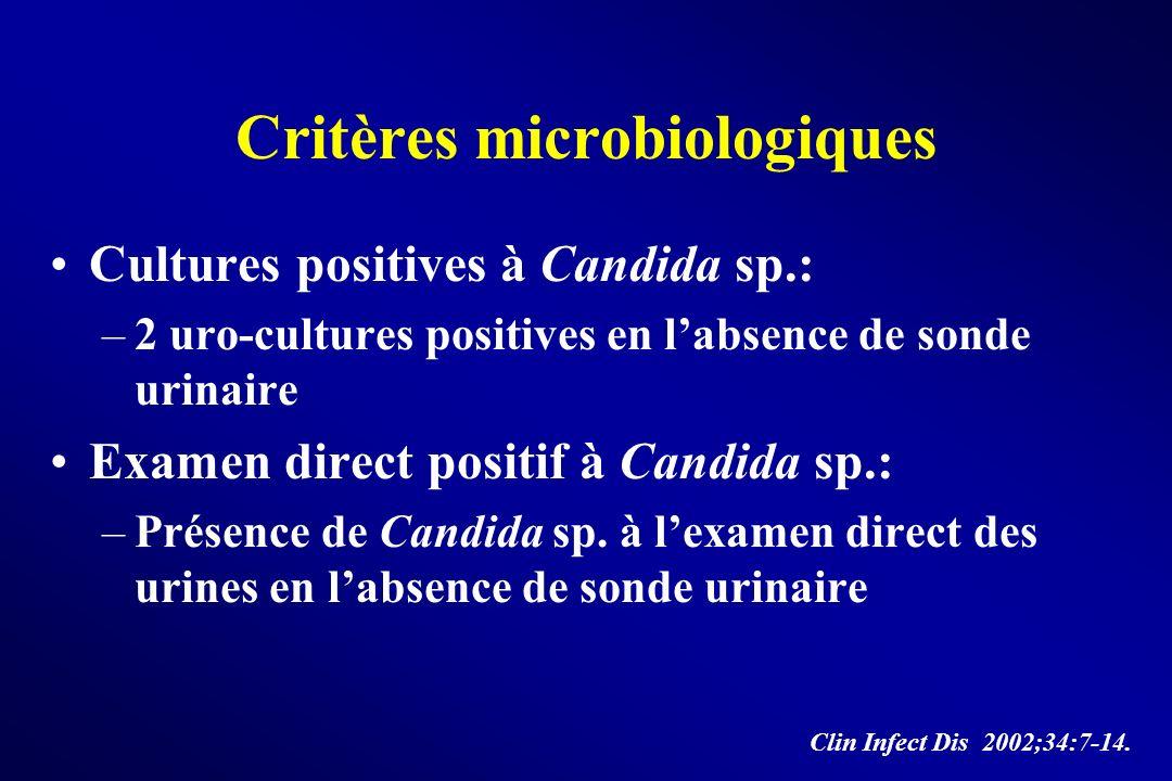Critères microbiologiques Cultures positives à Candida sp.: –2 uro-cultures positives en labsence de sonde urinaire Examen direct positif à Candida sp