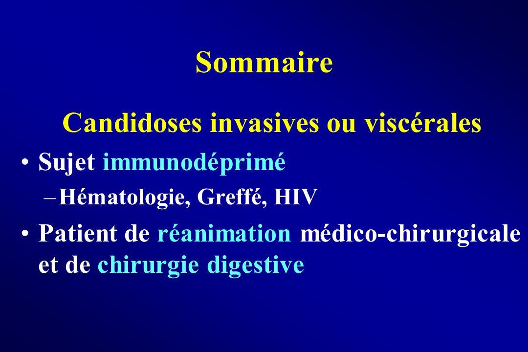 Sommaire Candidoses invasives ou viscérales Sujet immunodéprimé –Hématologie, Greffé, HIV Patient de réanimation médico-chirurgicale et de chirurgie d