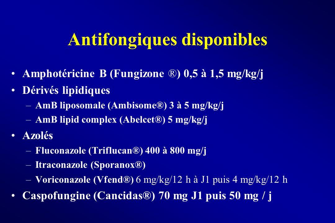 Antifongiques disponibles Amphotéricine B (Fungizone ®) 0,5 à 1,5 mg/kg/j Dérivés lipidiques –AmB liposomale (Ambisome®) 3 à 5 mg/kg/j –AmB lipid comp