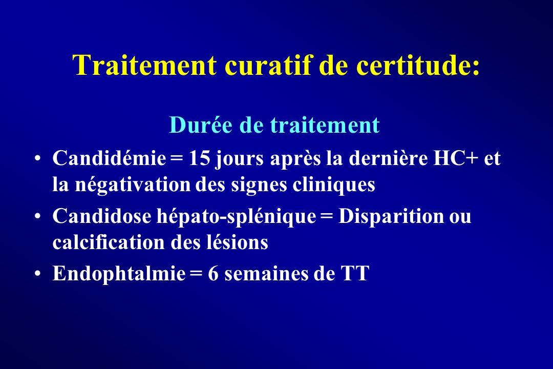Traitement curatif de certitude: Durée de traitement Candidémie = 15 jours après la dernière HC+ et la négativation des signes cliniques Candidose hép