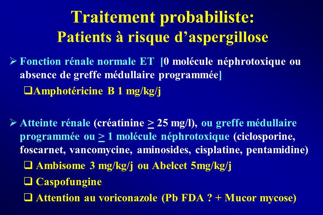 Fonction rénale normale ET [0 molécule néphrotoxique ou absence de greffe médullaire programmée] Amphotéricine B 1 mg/kg/j Atteinte rénale (créatinine