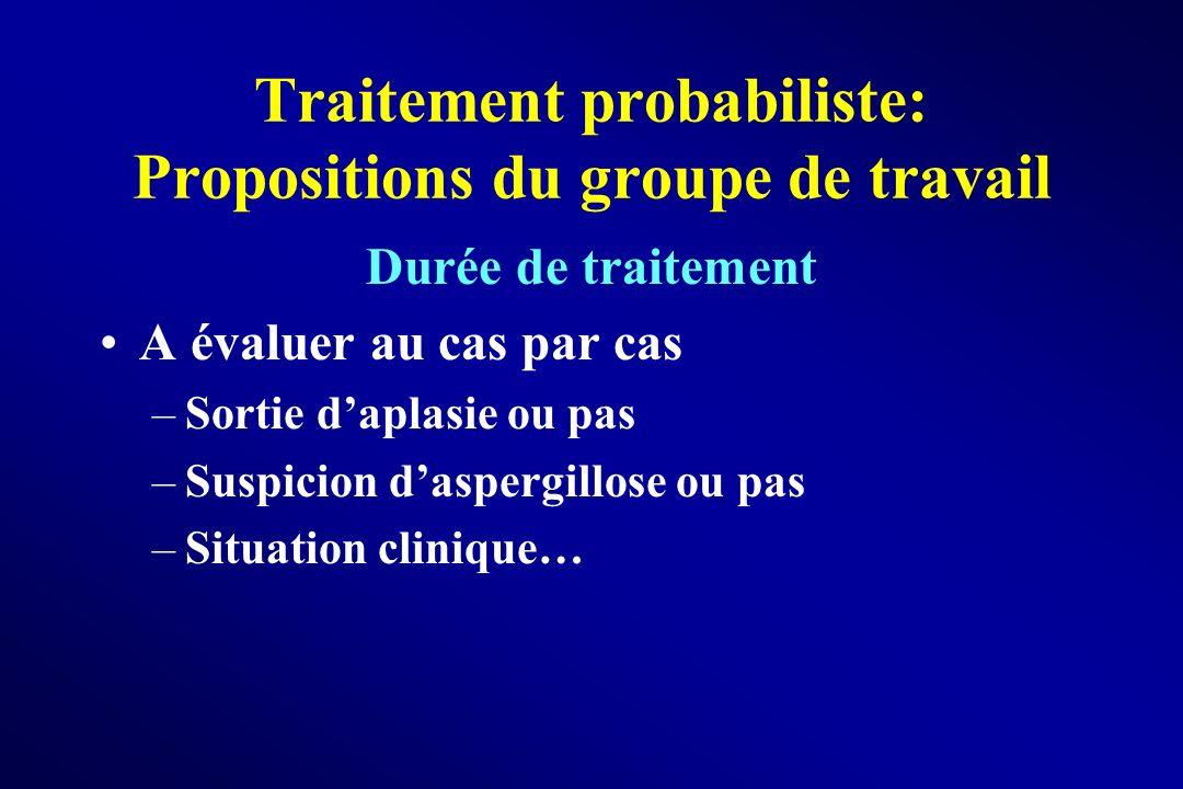Traitement probabiliste: Propositions du groupe de travail Durée de traitement A évaluer au cas par cas –Sortie daplasie ou pas –Suspicion daspergillo