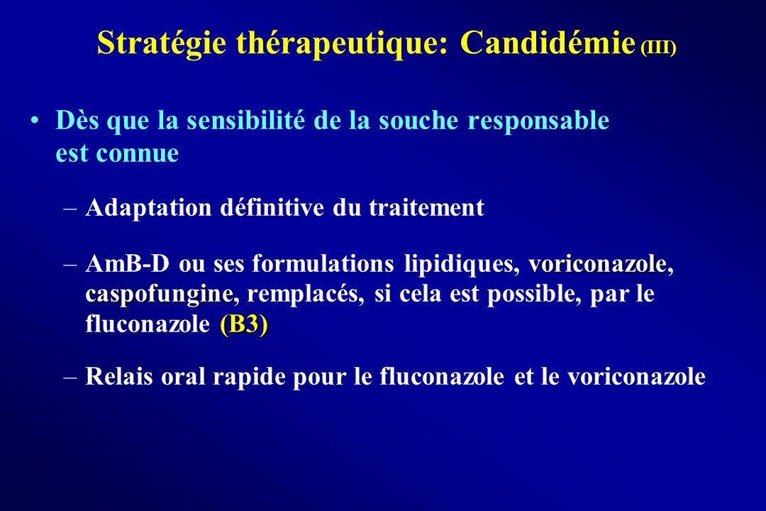 Stratégie thérapeutique: Candidémie (III) Dès que la sensibilité de la souche responsable est connue –Adaptation définitive du traitement voriconazole
