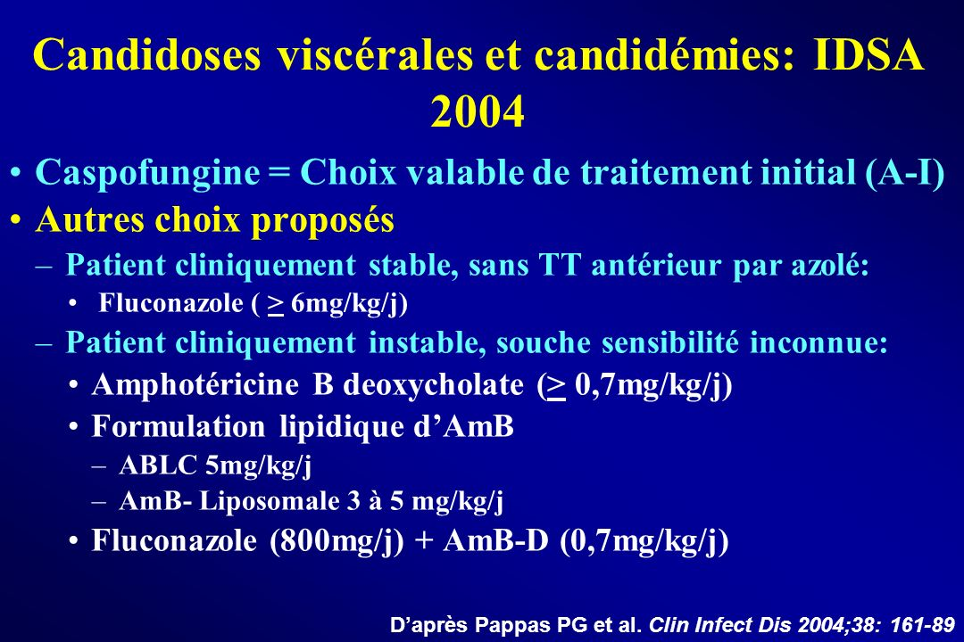 Caspofungine = Choix valable de traitement initial (A-I) Autres choix proposés –Patient cliniquement stable, sans TT antérieur par azolé: Fluconazole