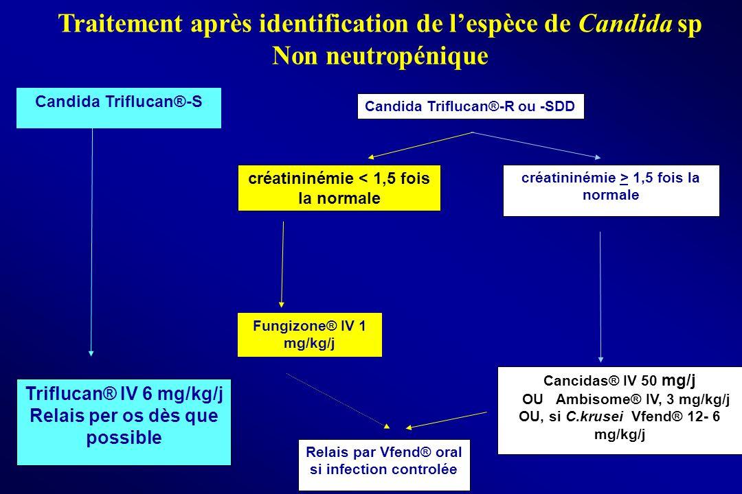 Traitement après identification de lespèce de Candida sp Non neutropénique Candida Triflucan®-R ou -SDD Triflucan® IV 6 mg/kg/j Relais per os dès que