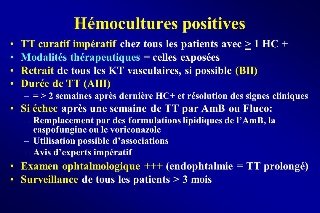 Hémocultures positives TT curatif impératif chez tous les patients avec > 1 HC + Modalités thérapeutiques = celles exposées Retrait de tous les KT vas
