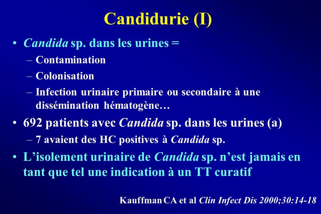 Candidurie (I) Candida sp. dans les urines = –Contamination –Colonisation –Infection urinaire primaire ou secondaire à une dissémination hématogène… 6