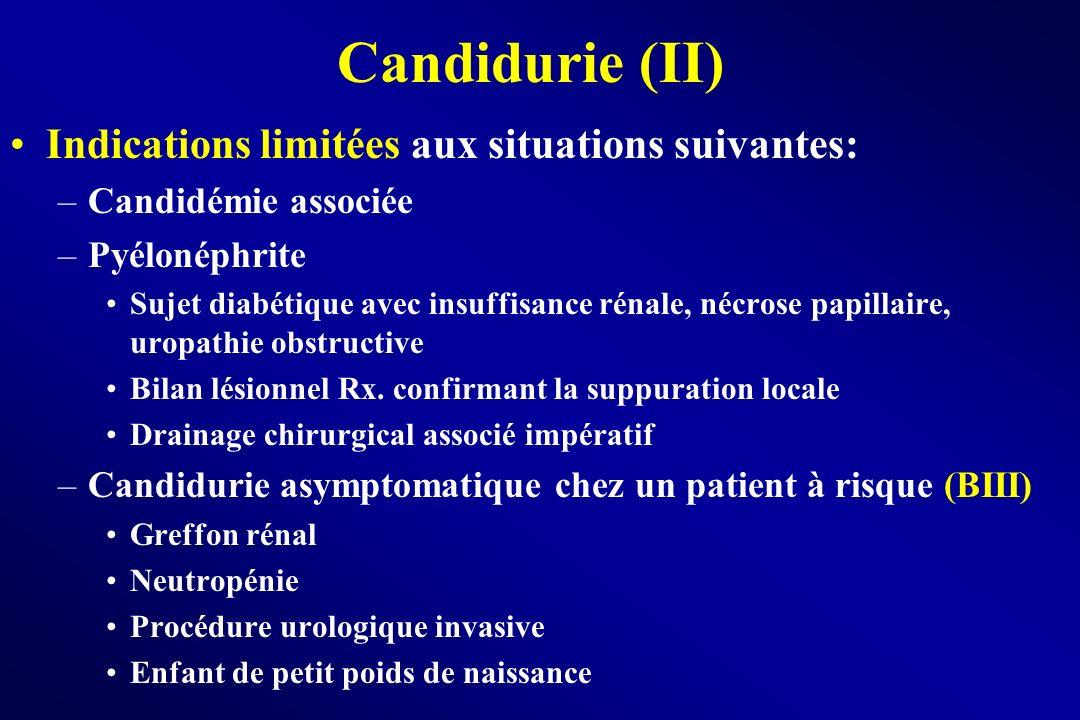 Candidurie (II) Indications limitées aux situations suivantes: –Candidémie associée –Pyélonéphrite Sujet diabétique avec insuffisance rénale, nécrose