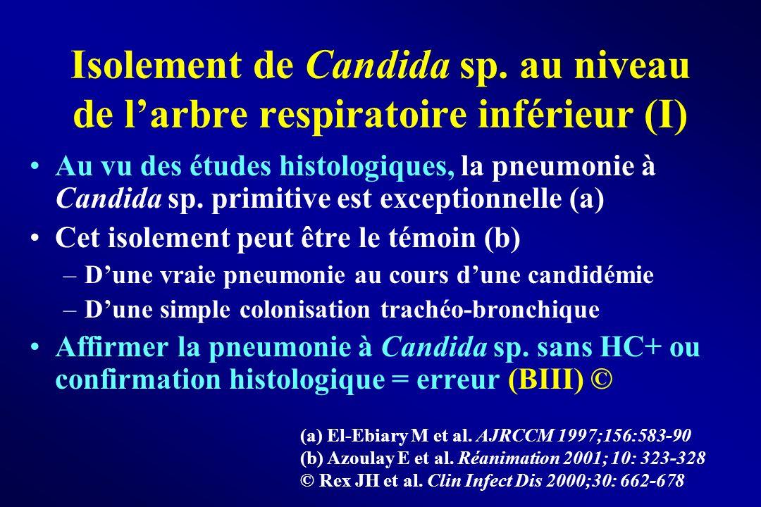 Isolement de Candida sp. au niveau de larbre respiratoire inférieur (I) Au vu des études histologiques, la pneumonie à Candida sp. primitive est excep