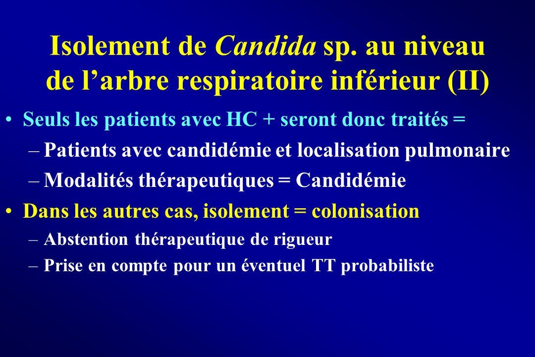 Isolement de Candida sp. au niveau de larbre respiratoire inférieur (II) Seuls les patients avec HC + seront donc traités = –Patients avec candidémie