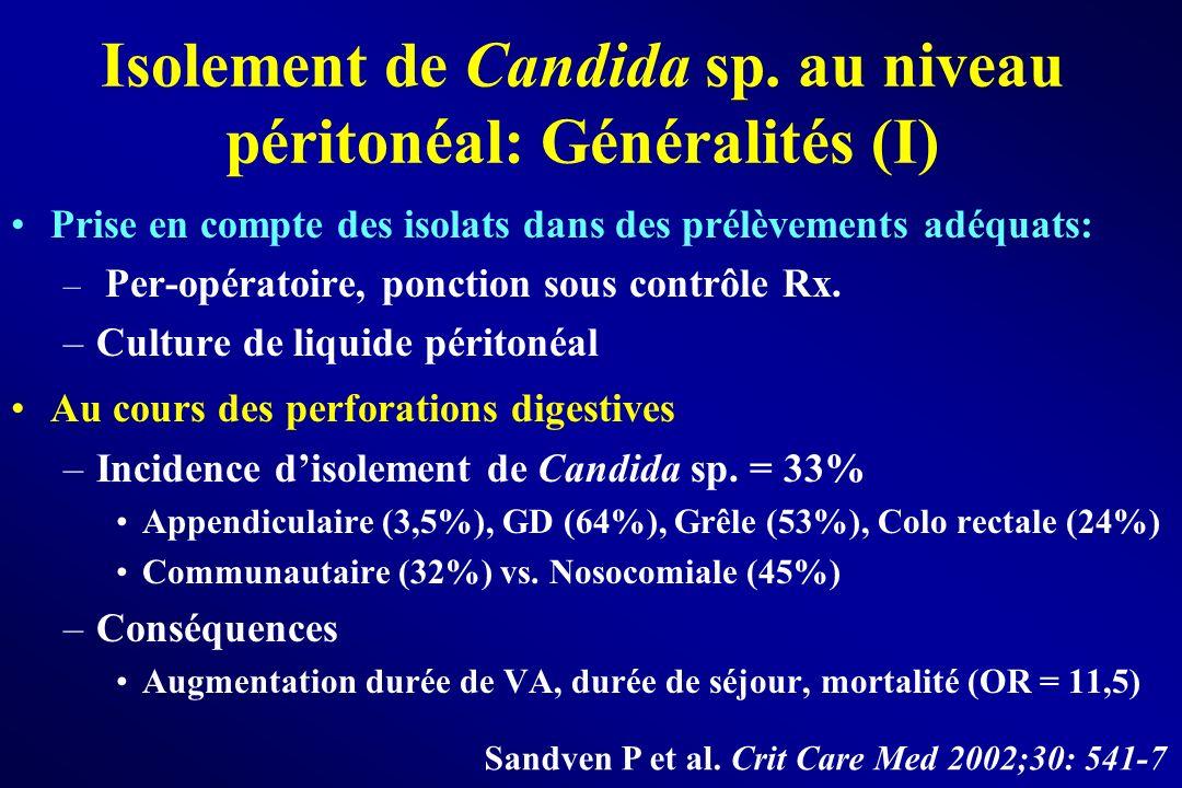 Isolement de Candida sp. au niveau péritonéal: Généralités (I) Prise en compte des isolats dans des prélèvements adéquats: – Per-opératoire, ponction