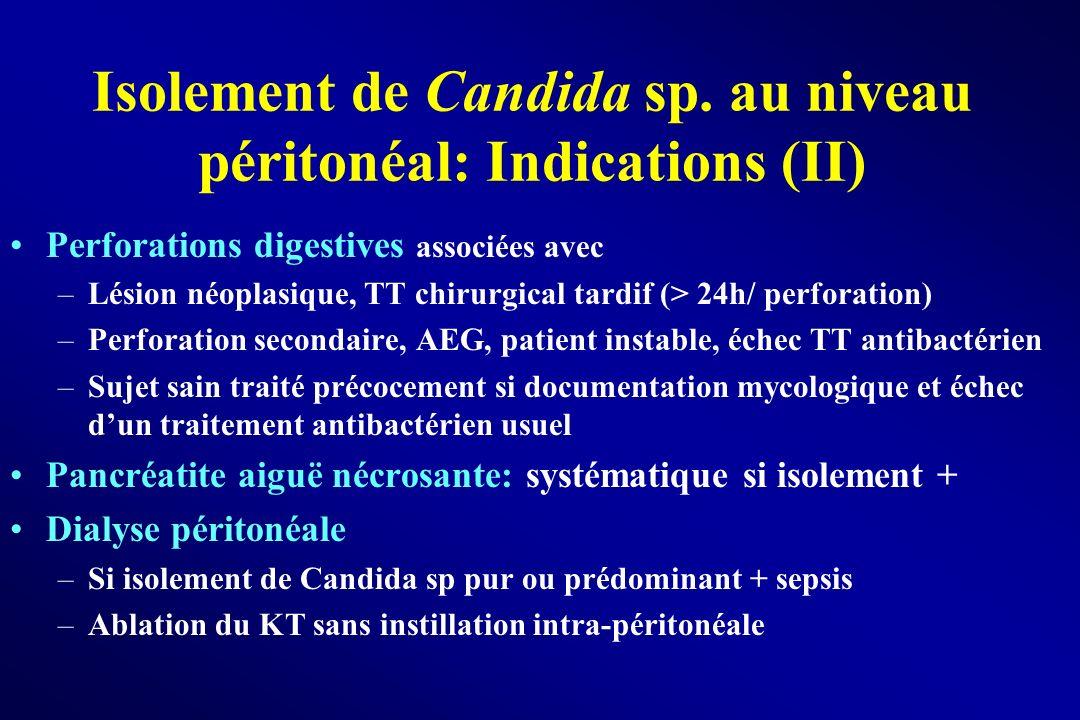 Isolement de Candida sp. au niveau péritonéal: Indications (II) Perforations digestives associées avec –Lésion néoplasique, TT chirurgical tardif (> 2