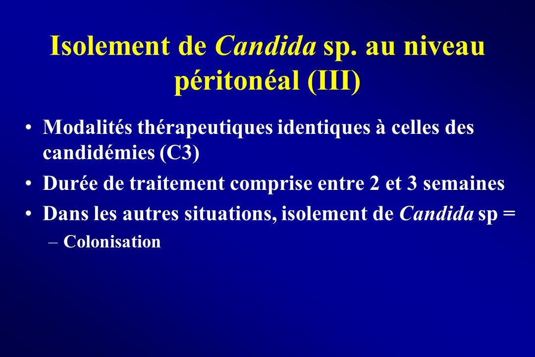 Isolement de Candida sp. au niveau péritonéal (III) Modalités thérapeutiques identiques à celles des candidémies (C3) Durée de traitement comprise ent