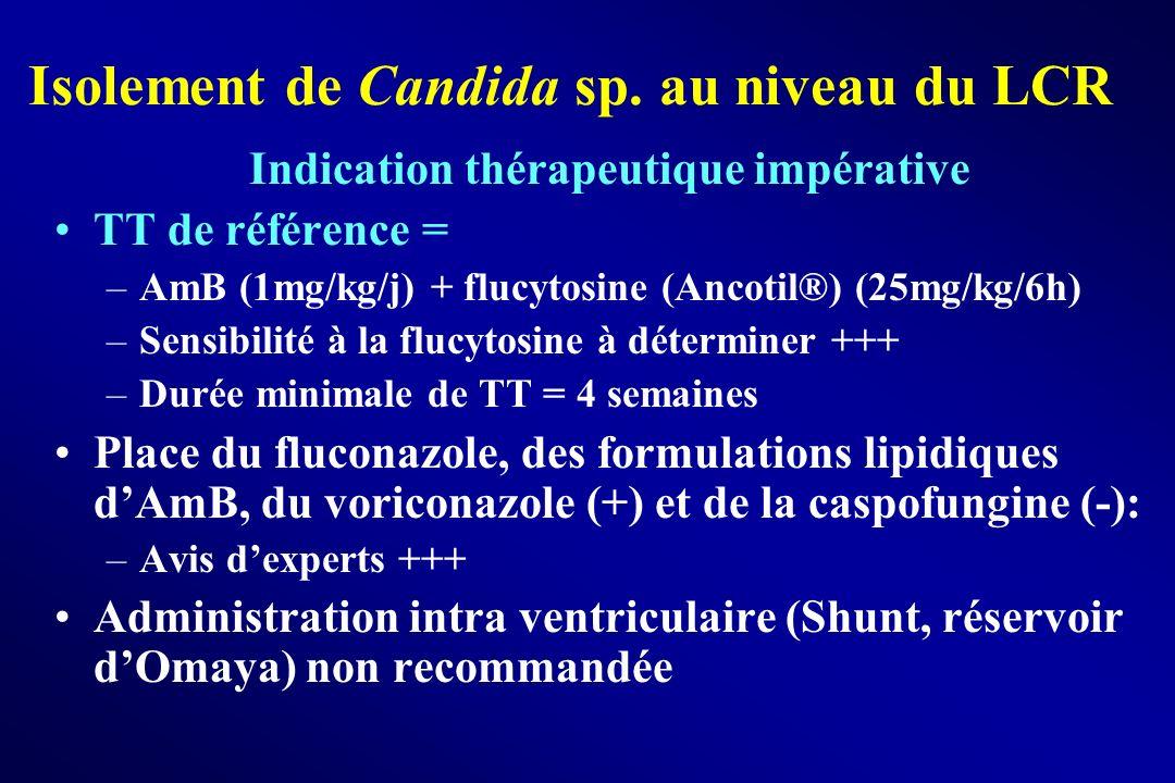 Isolement de Candida sp. au niveau du LCR Indication thérapeutique impérative TT de référence = –AmB (1mg/kg/j) + flucytosine (Ancotil®) (25mg/kg/6h)