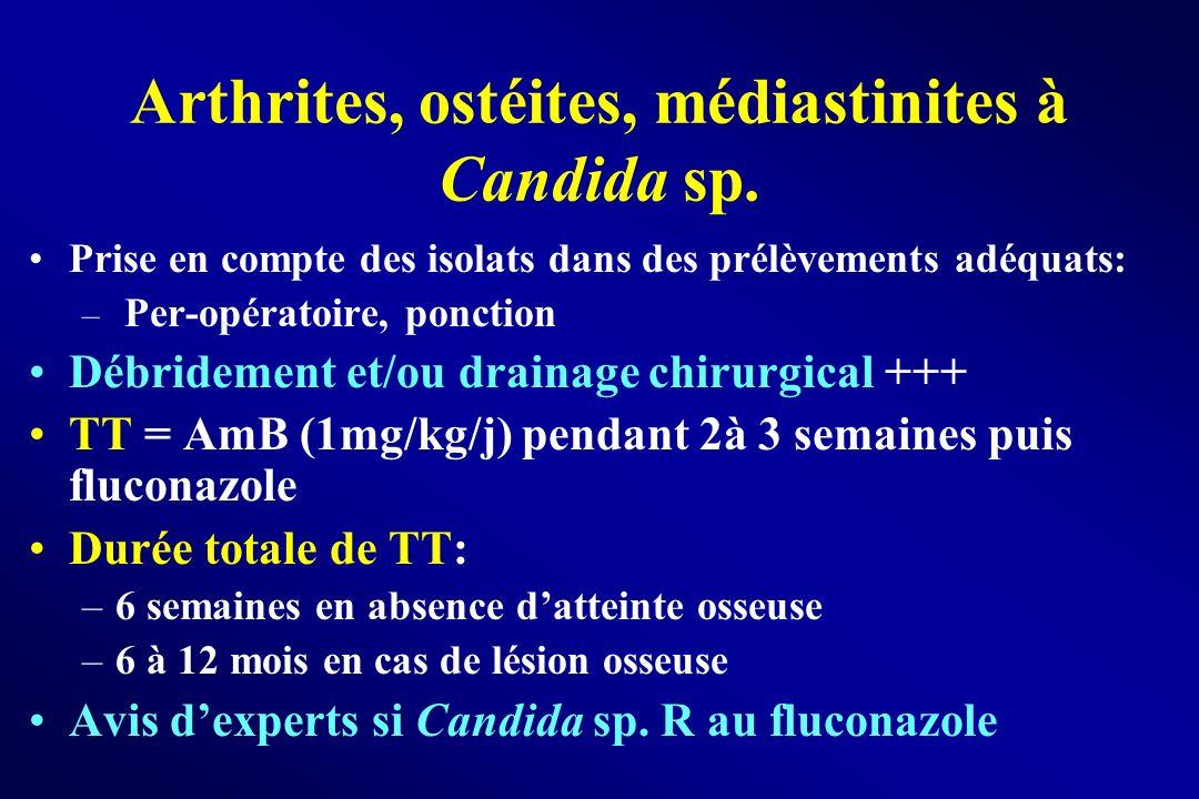 Arthrites, ostéites, médiastinites à Candida sp. Prise en compte des isolats dans des prélèvements adéquats: – Per-opératoire, ponction Débridement et