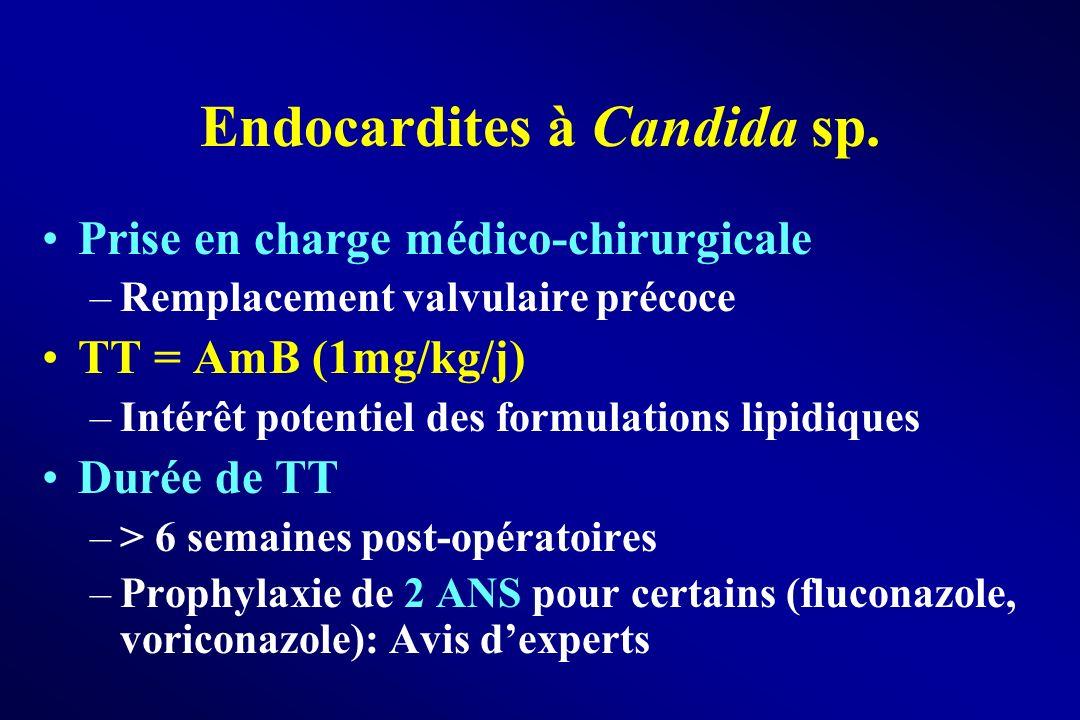 Endocardites à Candida sp. Prise en charge médico-chirurgicale –Remplacement valvulaire précoce TT = AmB (1mg/kg/j) –Intérêt potentiel des formulation