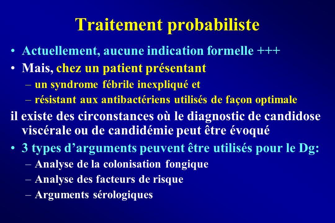Traitement probabiliste Actuellement, aucune indication formelle +++ Mais, chez un patient présentant –un syndrome fébrile inexpliqué et –résistant au