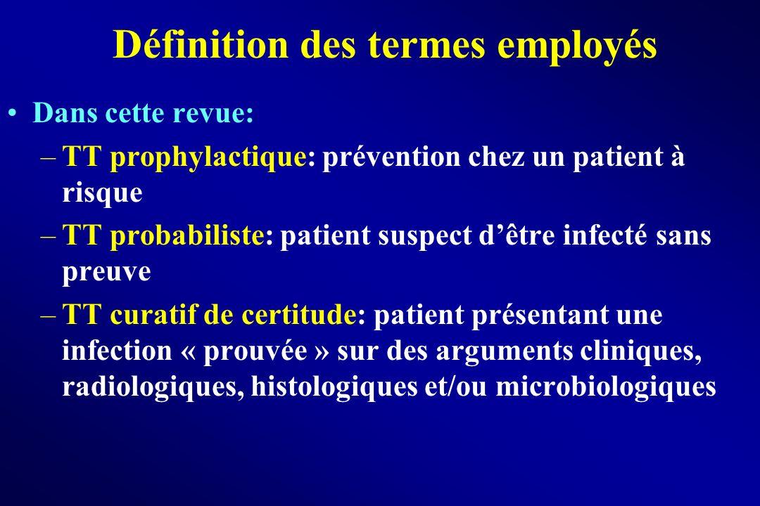 Dans cette revue: –TT prophylactique: prévention chez un patient à risque –TT probabiliste: patient suspect dêtre infecté sans preuve –TT curatif de c