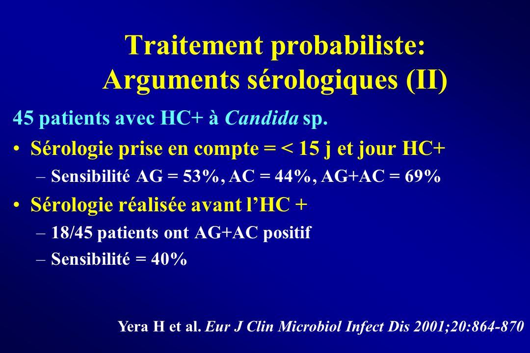 Traitement probabiliste: Arguments sérologiques (II) 45 patients avec HC+ à Candida sp. Sérologie prise en compte = < 15 j et jour HC+ –Sensibilité AG