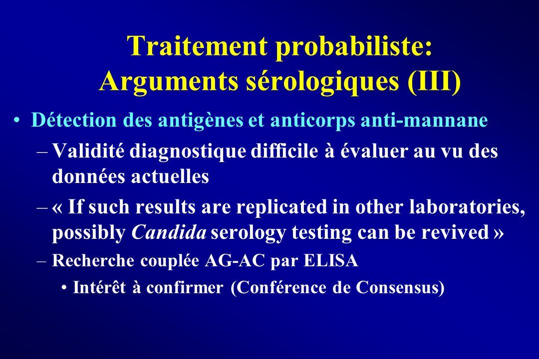 Traitement probabiliste: Arguments sérologiques (III) Détection des antigènes et anticorps anti-mannane –Validité diagnostique difficile à évaluer au