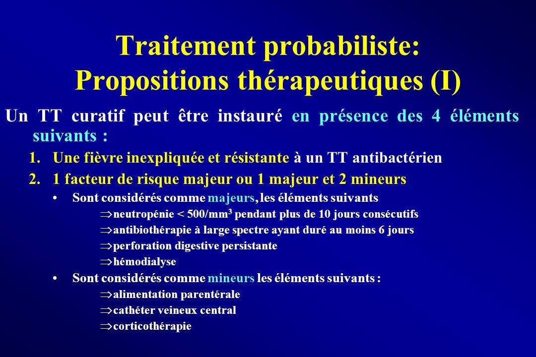 Traitement probabiliste: Propositions thérapeutiques (I) Un TT curatif peut être instauré en présence des 4 éléments suivants : 1.Une fièvre inexpliqu