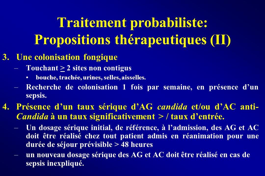 Traitement probabiliste: Propositions thérapeutiques (II) 3.Une colonisation fongique –Touchant > 2 sites non contigus bouche, trachée, urines, selles