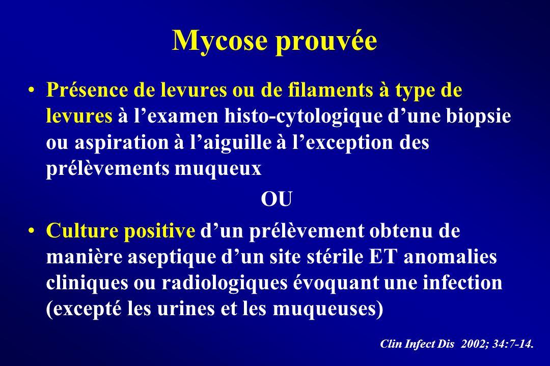 Mycose prouvée Présence de levures ou de filaments à type de levures à lexamen histo-cytologique dune biopsie ou aspiration à laiguille à lexception d
