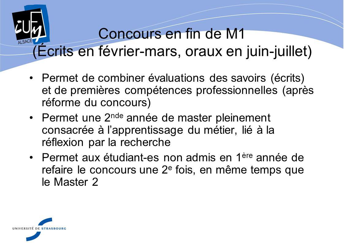 Concours en fin de M1 (Écrits en février-mars, oraux en juin-juillet) Permet de combiner évaluations des savoirs (écrits) et de premières compétences