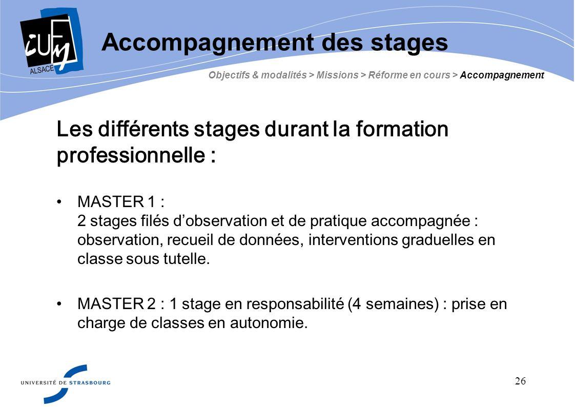 26 Les différents stages durant la formation professionnelle : MASTER 1 : 2 stages filés d observation et de pratique accompagnée : observation, recue