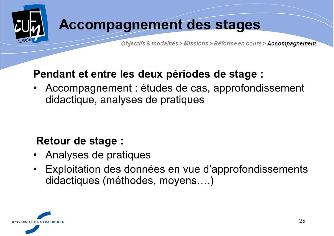 28 Pendant et entre les deux périodes de stage : Accompagnement : études de cas, approfondissement didactique, analyses de pratiques Retour de stage :