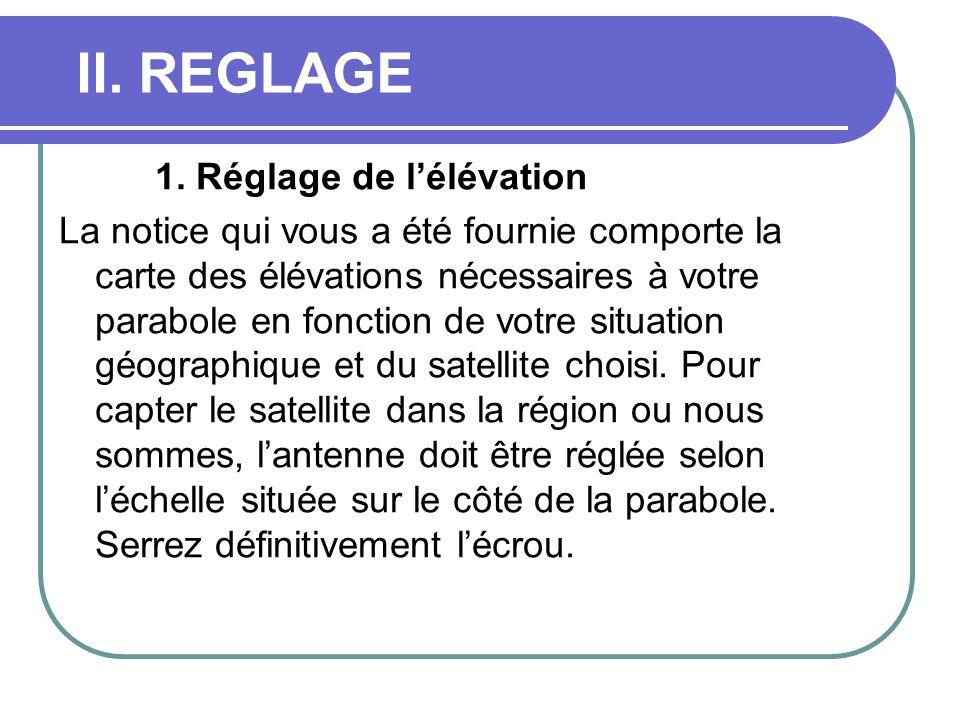 II. REGLAGE 1. Réglage de lélévation La notice qui vous a été fournie comporte la carte des élévations nécessaires à votre parabole en fonction de vot