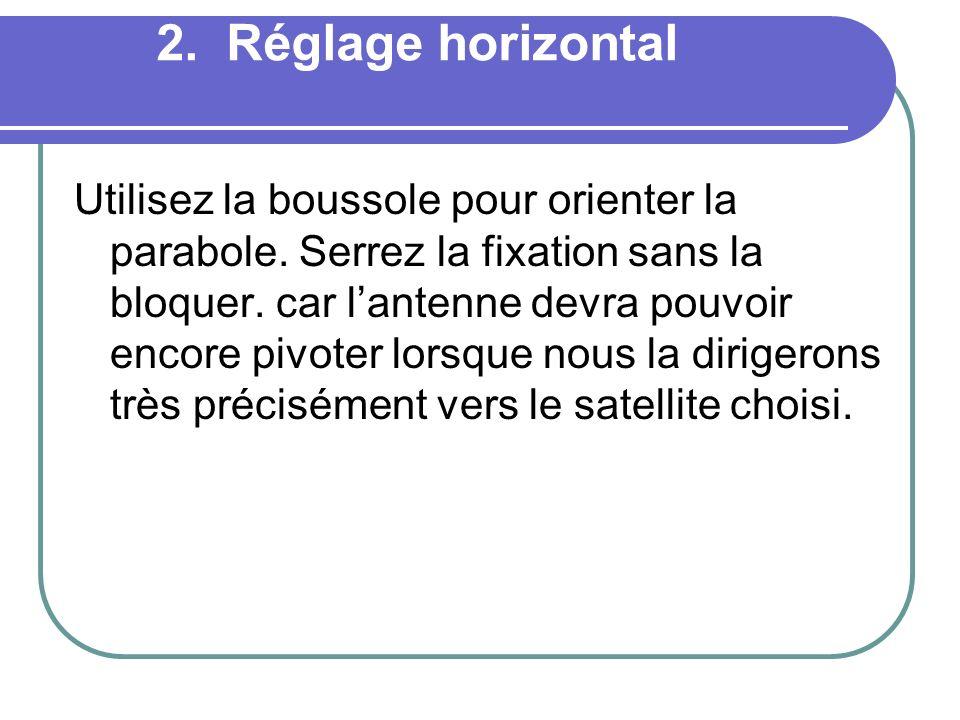 2. Réglage horizontal Utilisez la boussole pour orienter la parabole. Serrez la fixation sans la bloquer. car lantenne devra pouvoir encore pivoter lo