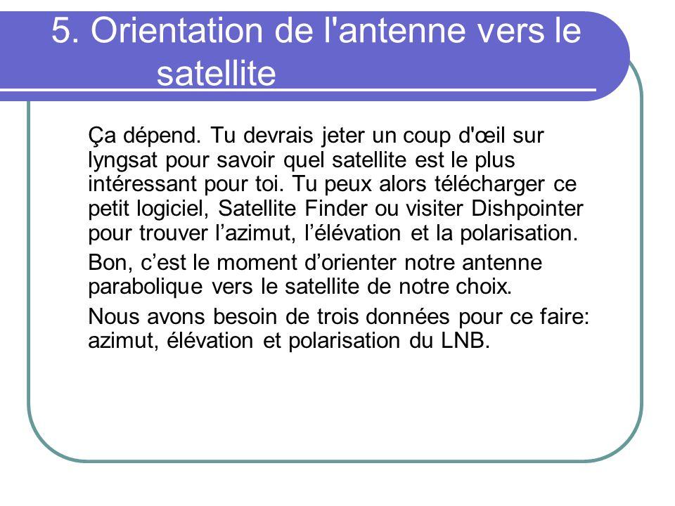 5. Orientation de l'antenne vers le satellite Ça dépend. Tu devrais jeter un coup d'œil sur lyngsat pour savoir quel satellite est le plus intéressant