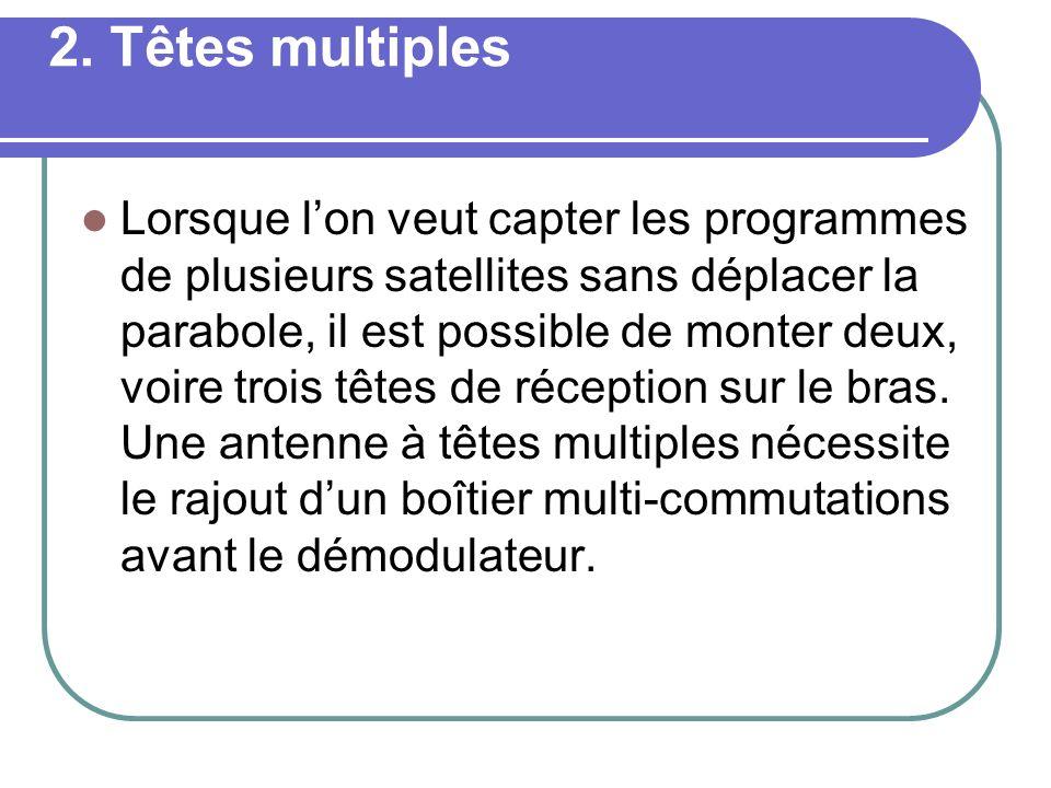 2. Têtes multiples Lorsque lon veut capter les programmes de plusieurs satellites sans déplacer la parabole, il est possible de monter deux, voire tro
