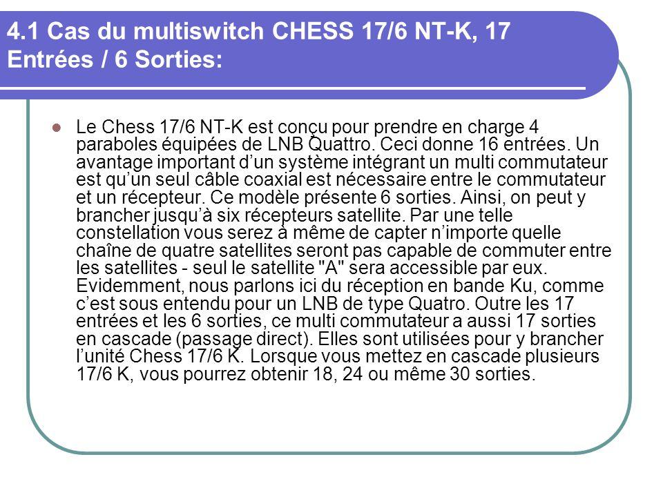 4.1 Cas du multiswitch CHESS 17/6 NT-K, 17 Entrées / 6 Sorties: Le Chess 17/6 NT-K est conçu pour prendre en charge 4 paraboles équipées de LNB Quattr