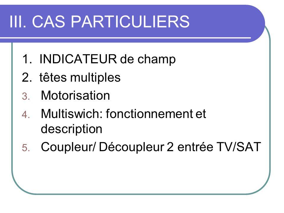 III. CAS PARTICULIERS 1. INDICATEUR de champ 2. têtes multiples 3. Motorisation 4. Multiswich: fonctionnement et description 5. Coupleur/ Découpleur 2