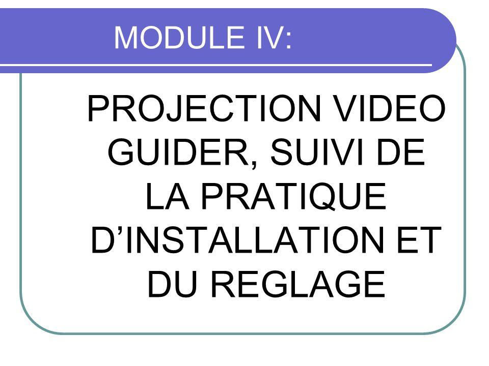 MODULE IV: PROJECTION VIDEO GUIDER, SUIVI DE LA PRATIQUE DINSTALLATION ET DU REGLAGE