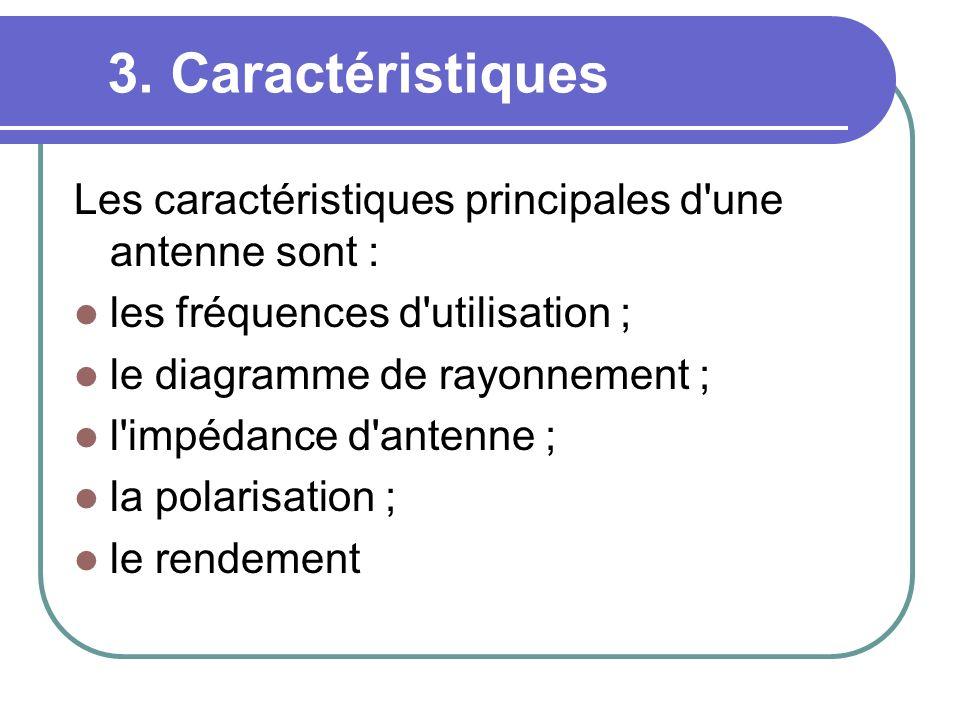 3. Caractéristiques Les caractéristiques principales d'une antenne sont : les fréquences d'utilisation ; le diagramme de rayonnement ; l'impédance d'a
