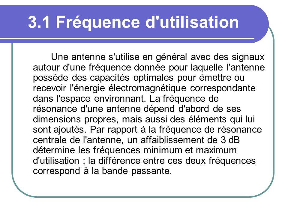 3.1 Fréquence d'utilisation Une antenne s'utilise en général avec des signaux autour d'une fréquence donnée pour laquelle l'antenne possède des capaci