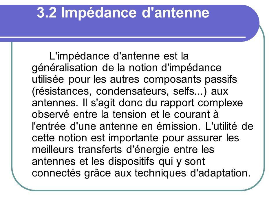 3.2 Impédance d'antenne L'impédance d'antenne est la généralisation de la notion d'impédance utilisée pour les autres composants passifs (résistances,