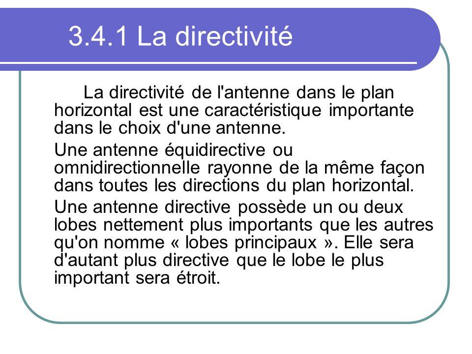 3.4.1 La directivité La directivité de l'antenne dans le plan horizontal est une caractéristique importante dans le choix d'une antenne. Une antenne é