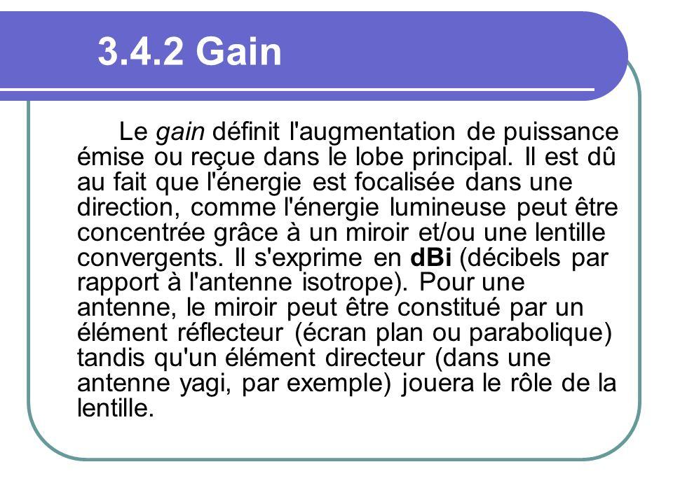 3.4.2 Gain Le gain définit l'augmentation de puissance émise ou reçue dans le lobe principal. Il est dû au fait que l'énergie est focalisée dans une d