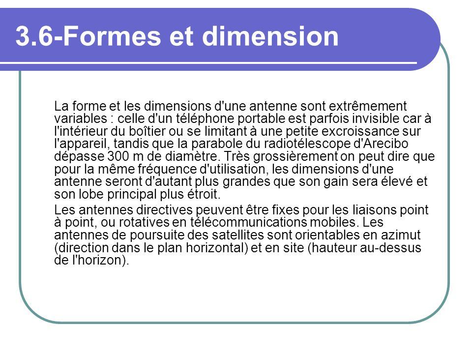 3.6-Formes et dimension La forme et les dimensions d'une antenne sont extrêmement variables : celle d'un téléphone portable est parfois invisible car